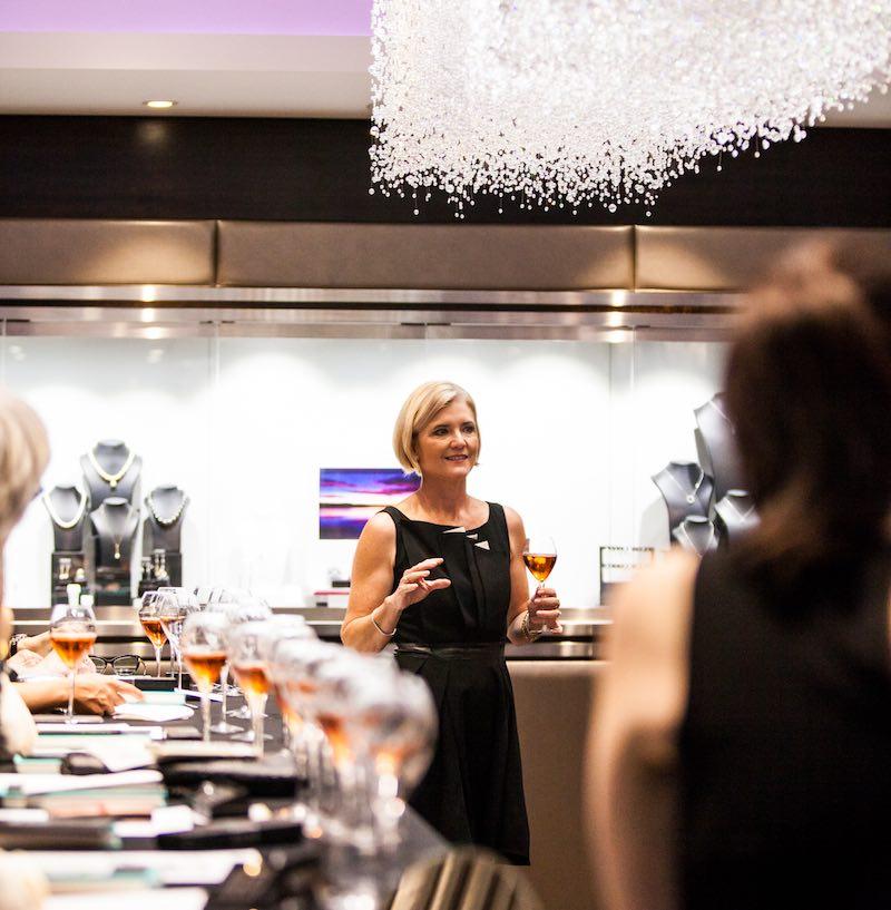 Amanda Reboul presenting a champagne masterclass